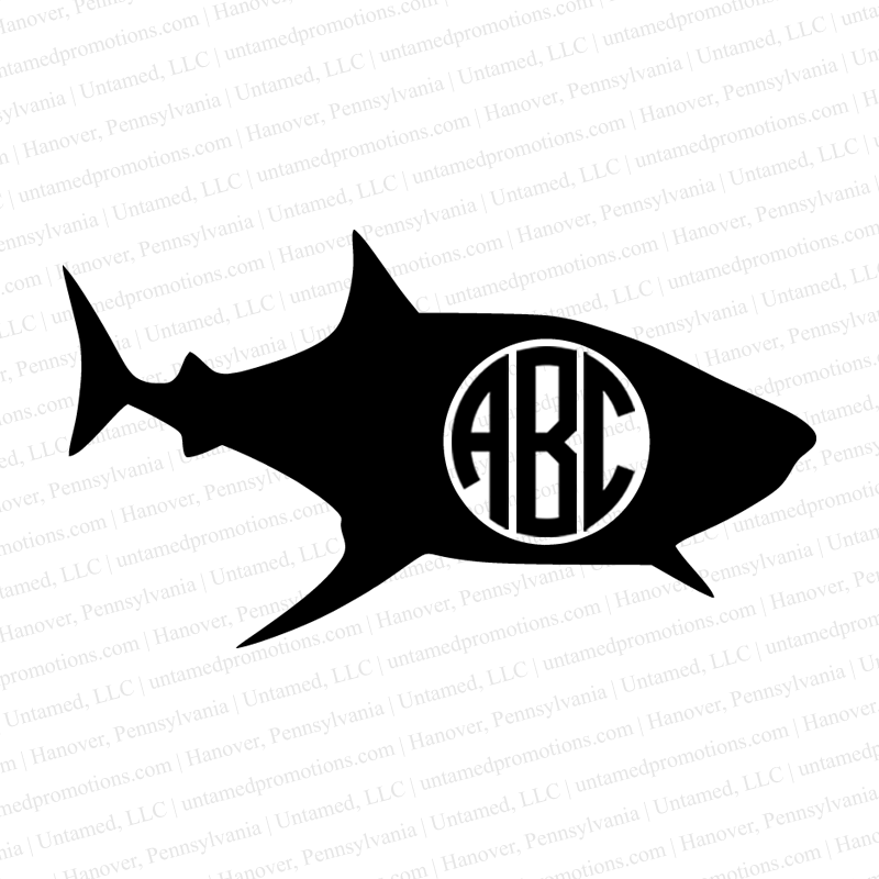 Shark Monogram Vinyl Decal Personalized Gifts Business